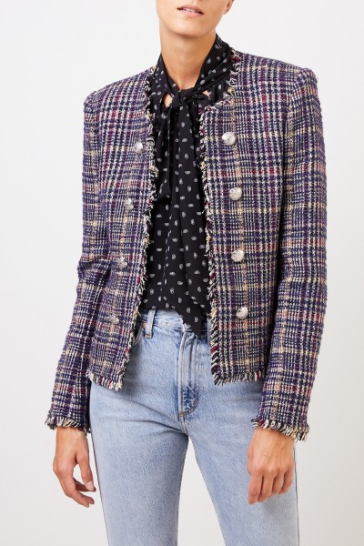 Veronica Beard Tweedblazer mit Fransen-Detail Blau/Multi