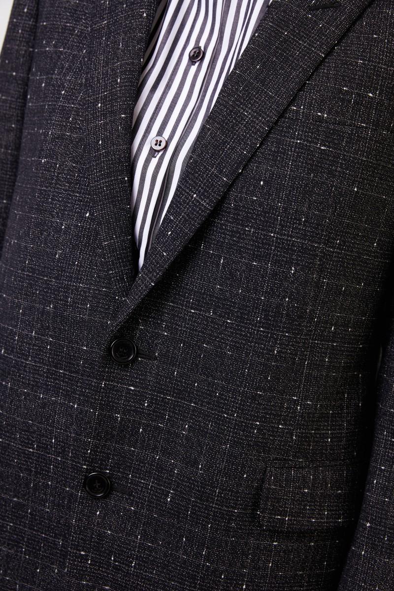 Saint Laurent Karierter Woll-Shell Blazer Schwarz/Multi