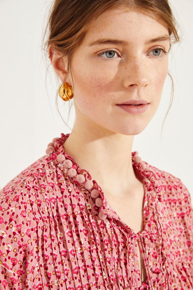Bluse 'Clara' mit floralem Print Rot/Rosé
