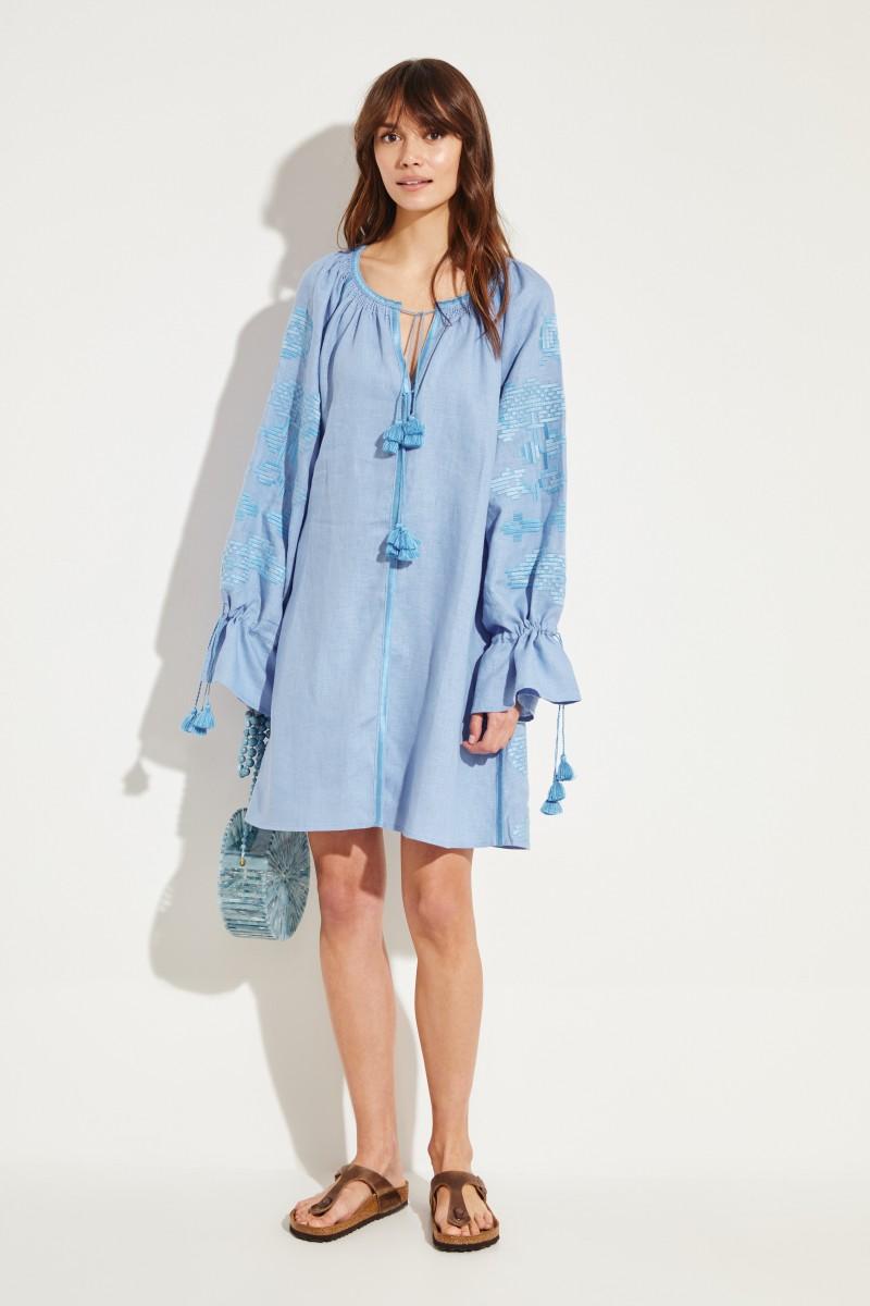 Kurzes Leinen-Kleid 'Laila' mit Stickerei Blau