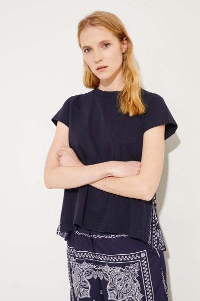 Baumwoll-Shirt mit Plissee-Detail Blau