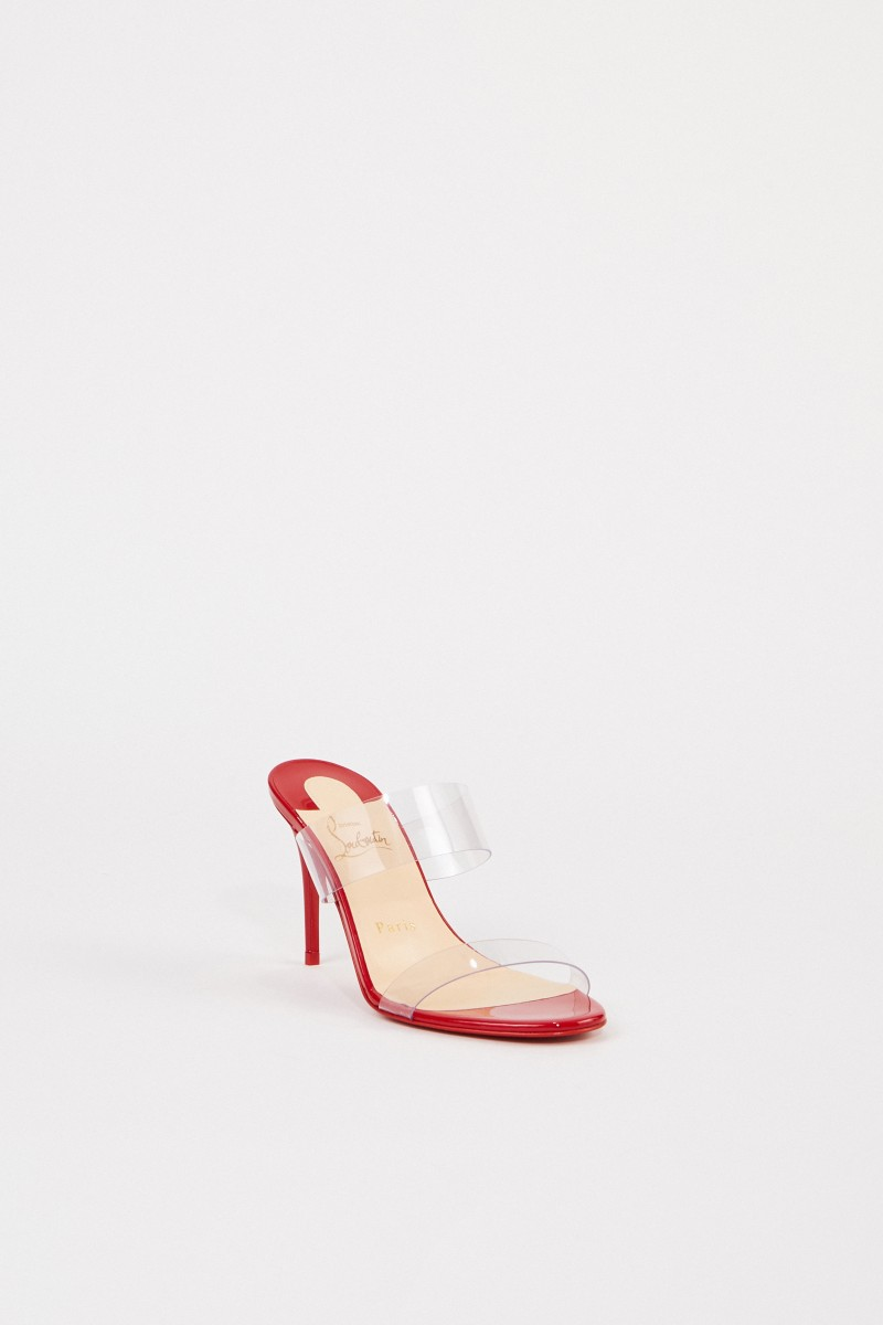Christian Louboutin Mules'Just Nothing 85 Patent' Rot/Transparent