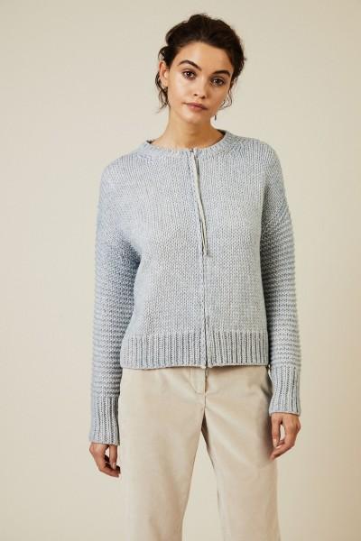 Woll-Cardigan mit Glitzerfaden-Detail Blau