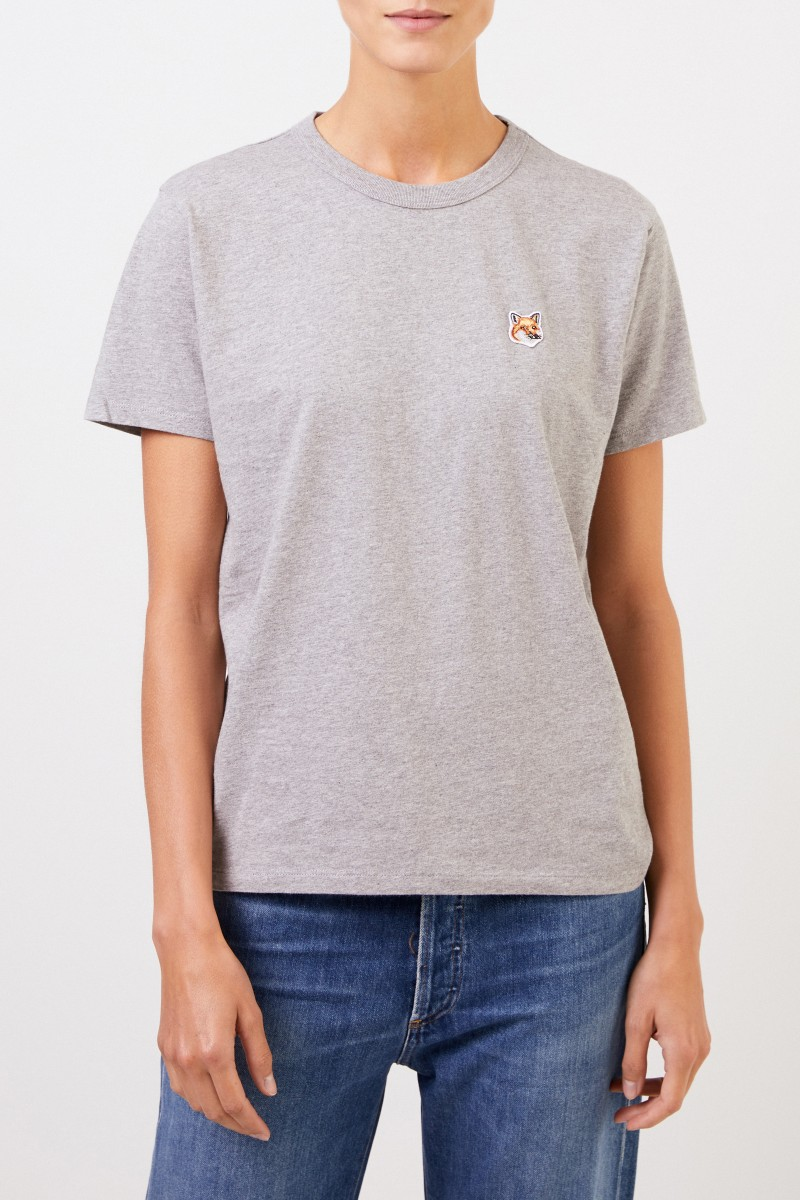 Maison Kitsuné T-Shirt 'Fox Head Patch' Hellgrau