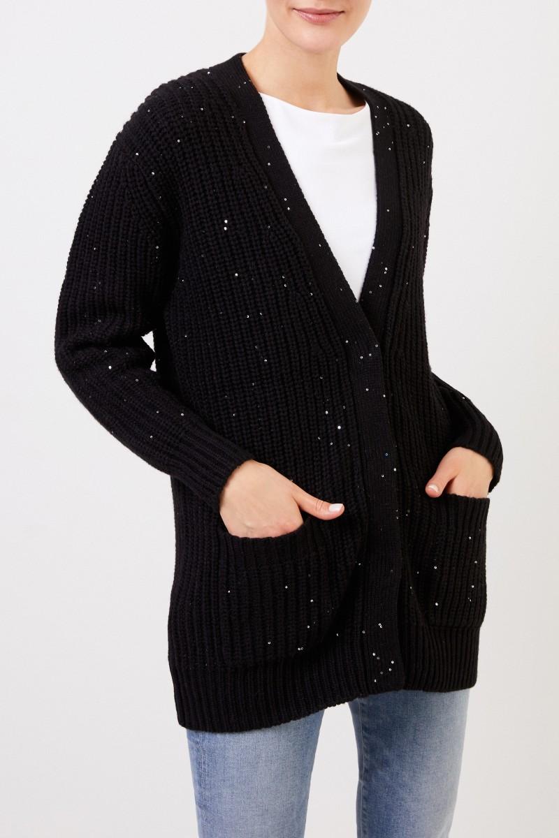 Woll-Alpaka Cardigan mit Paillettenverzierung Schwarz