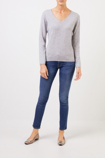 Cashmere pullover with v-neck Grey