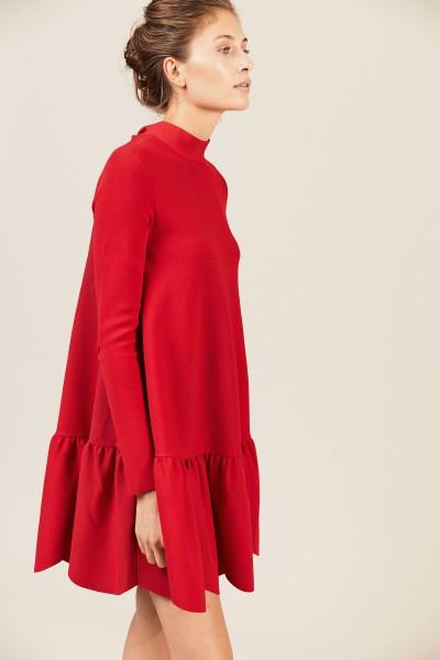 Kleid aus Crêpe Rot
