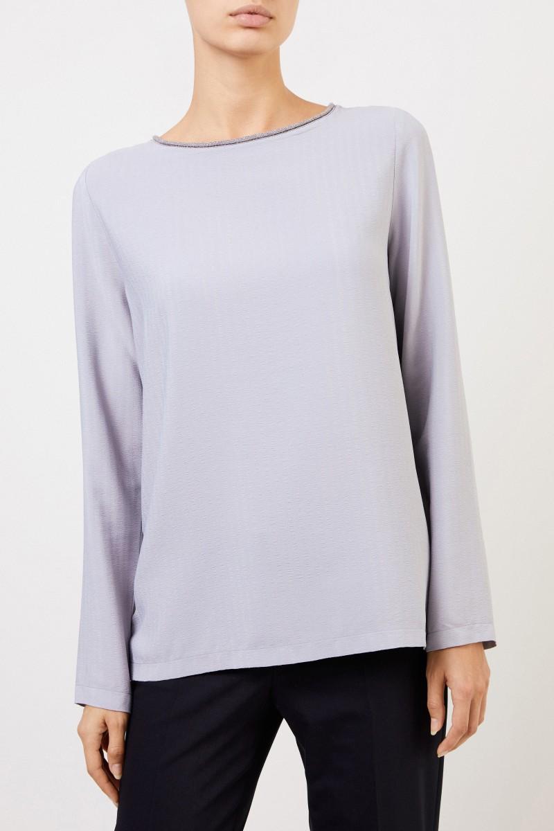 Bluse mit Perlenverzierung Hellblau