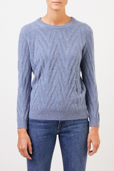 Uzwei Cashmere sweater with knit pattern Blue