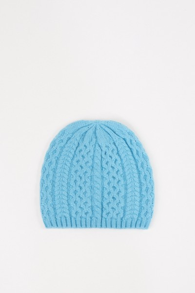 Uzwei Cashmere hat with cable stitch Light Blue