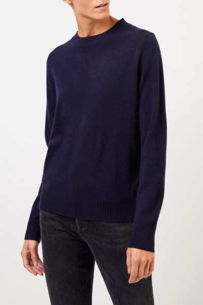 Uzwei Cashmere sweater with rib knit collar Navy Blue