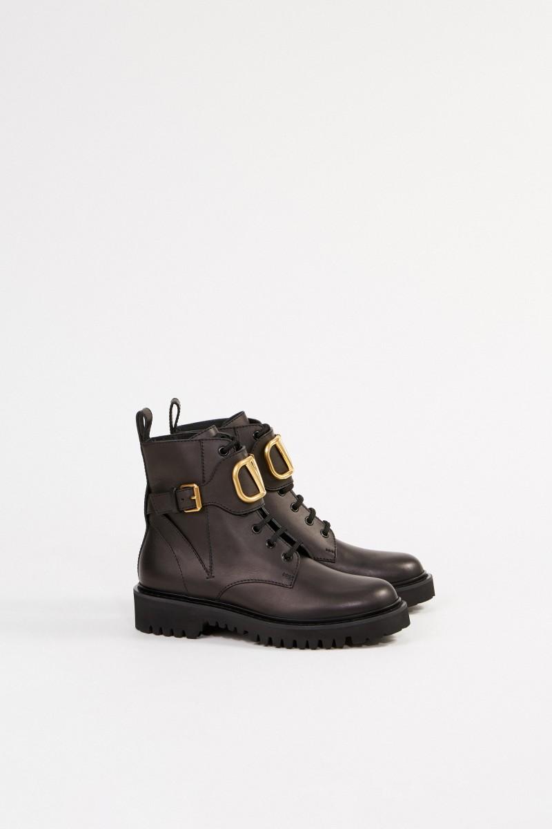 Valentino Combat-Boots mit V-Logo Schwarz