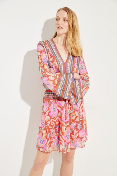 Kleid mit Print und Glockenärmeln Rot/Multi