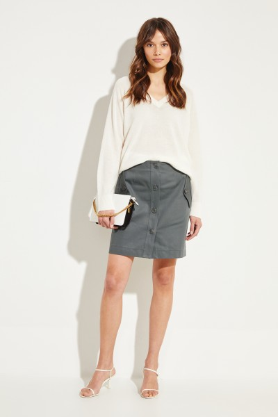 Givenchy Short cotton skirt with buttons Sage