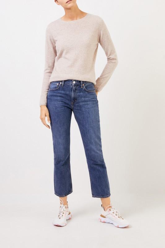 Cashmere-Pullover mit R-Neck Beige