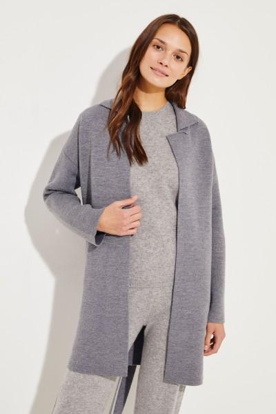 Knitted coat with belt detail mottled Grey