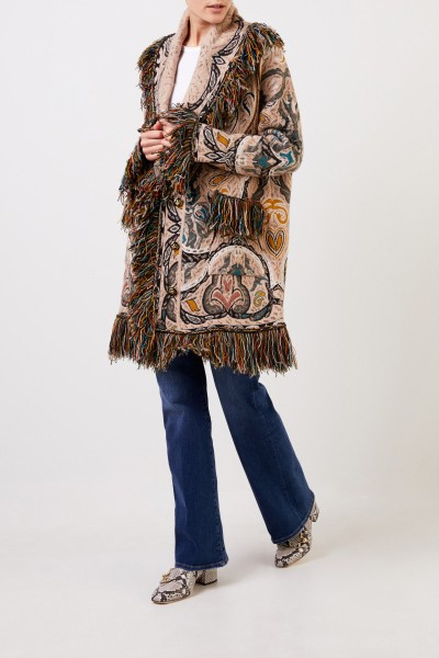 Etro Coat with paisley pattern and fringes Beige/Multi