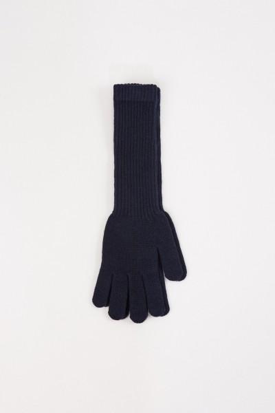 Uzwei Long wool cashmere gloves Navy Blue