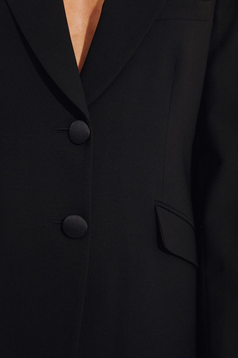 Woll-Blazer mit Schulterpolstern Schwarz