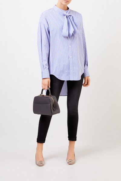 Balenciaga Striped blouse with binding detail Blue/White