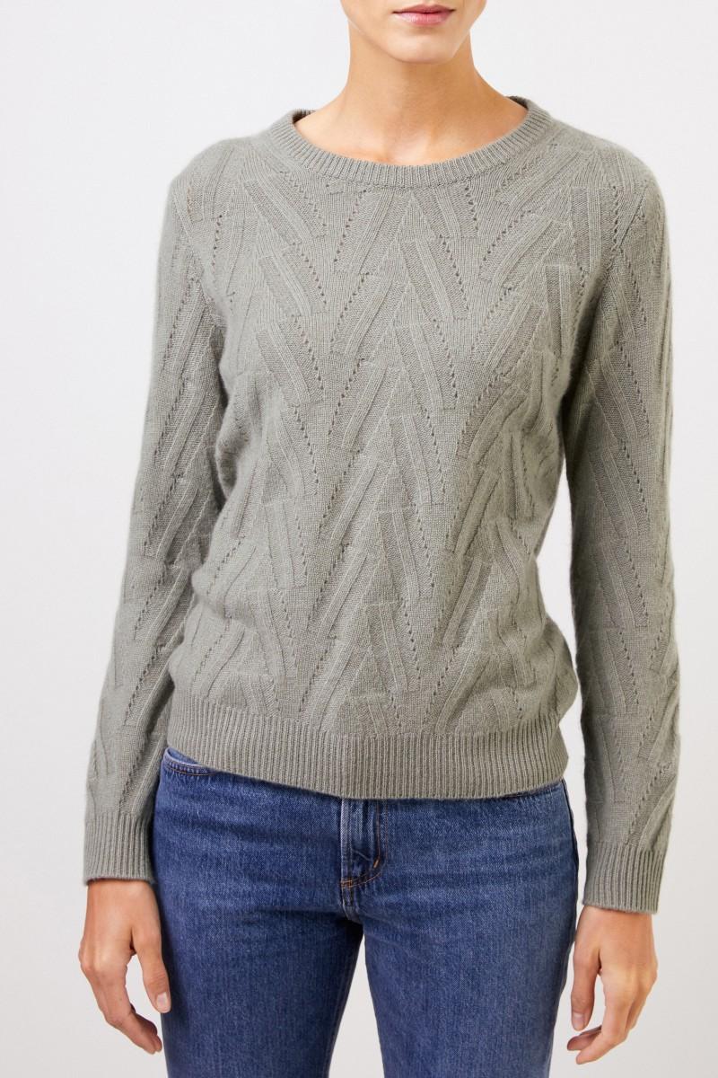 Uzwei Cashmere-Pullover mit Strickmuster Salbei