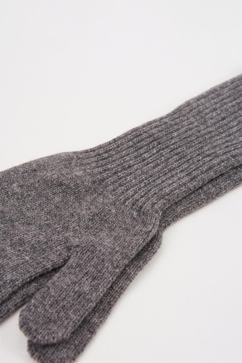 Uzwei Lange Woll-Cashmere-Handschuhe Grau