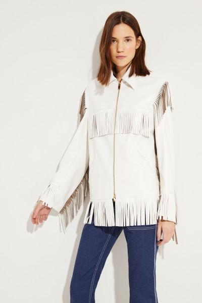 Stella McCartney Leatherette jacket with fringes White