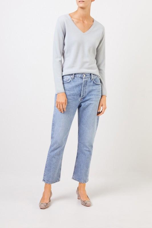 Uzwei Cashmere-Pullover mit V-Neck Seegrün
