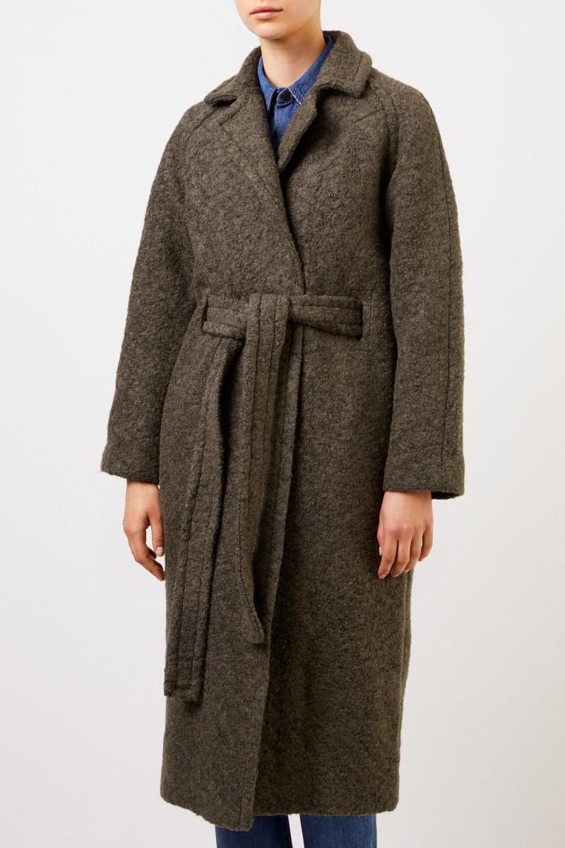 Ganni Langer Wickelmantel aus texturierter Bouclé-Wolle Khaki