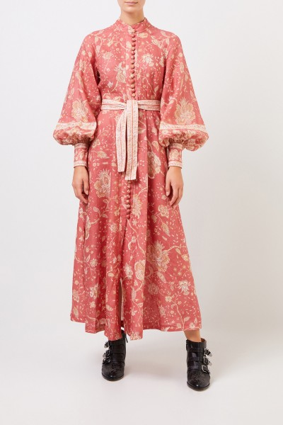 Zimmermann Short linen dress 'Veneto' with print Coral