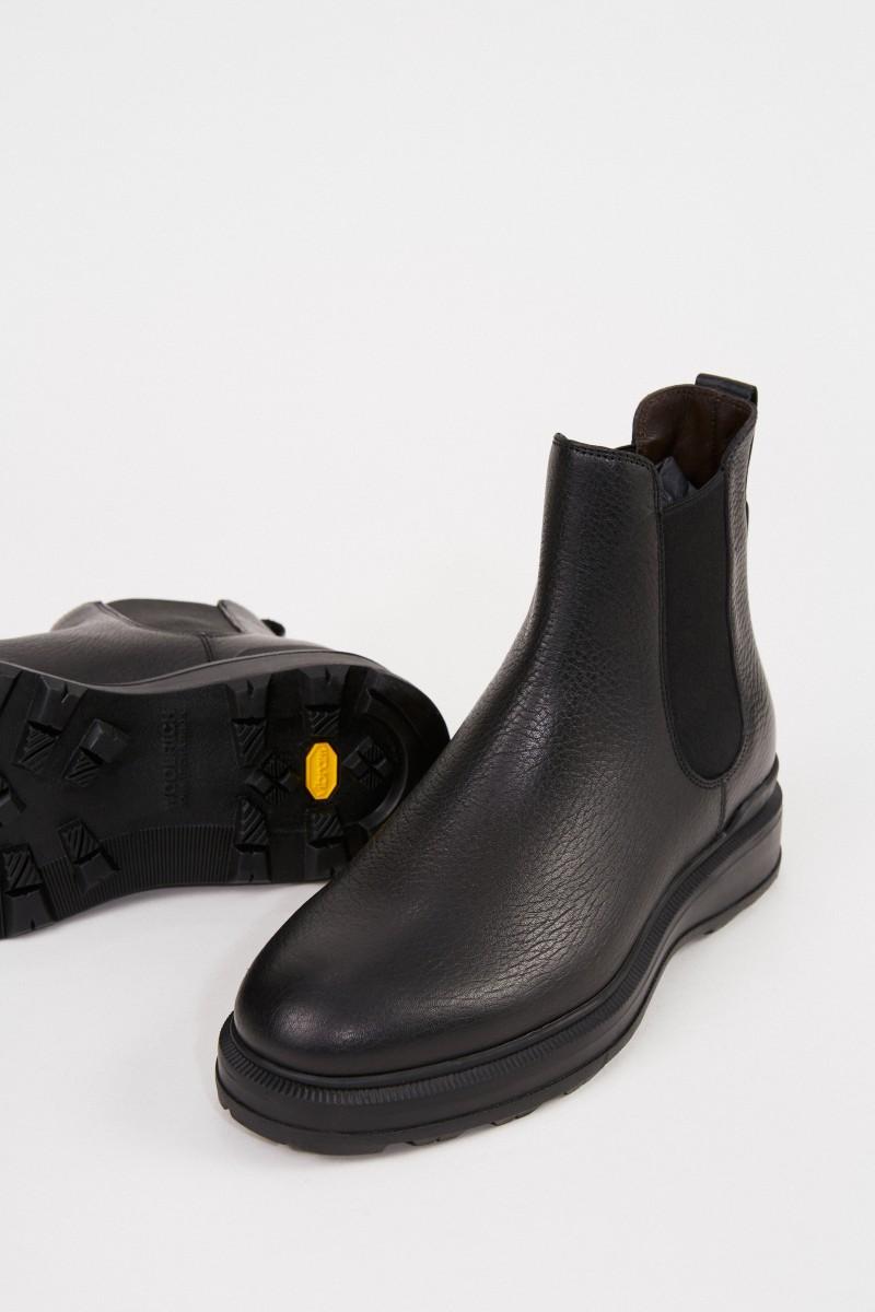 Woolrich Leder-Chelsea Boots Schwarz