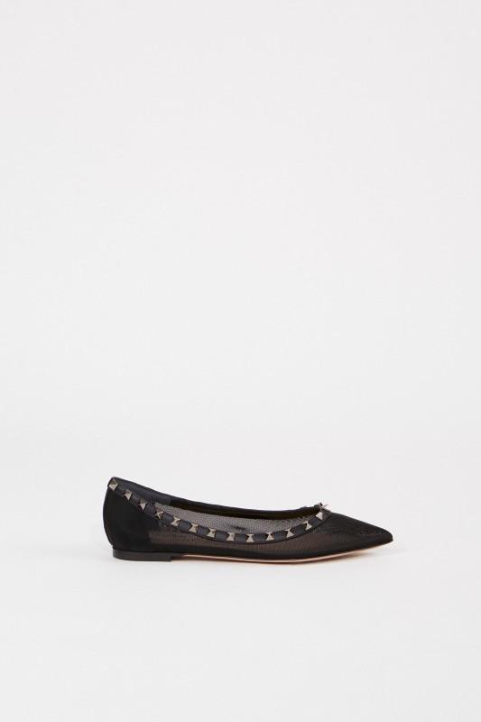 Spitzer Flat mit Nieten Schwarz