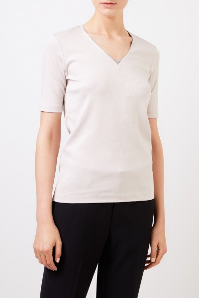 Fabiana Filippi Fine-ribbed shirt with pearl adornment Beige