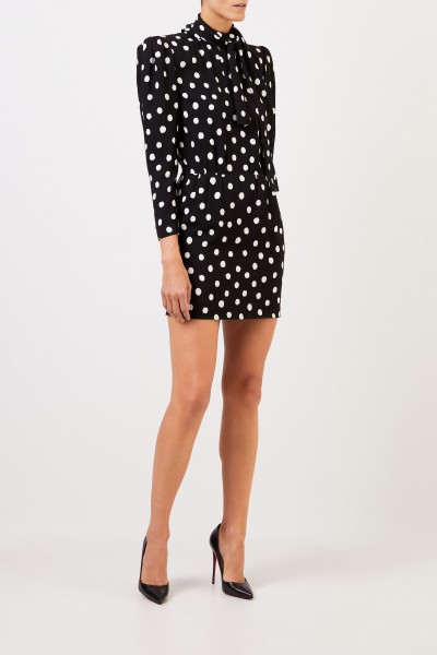 Saint Laurent Gepunktetes Kleid mit Schluppendetail Schwarz/Weiß