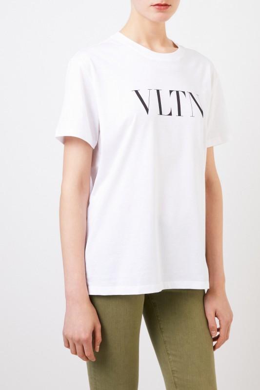 T-Shirt mit VLTN-Logo Weiß/Schwarz