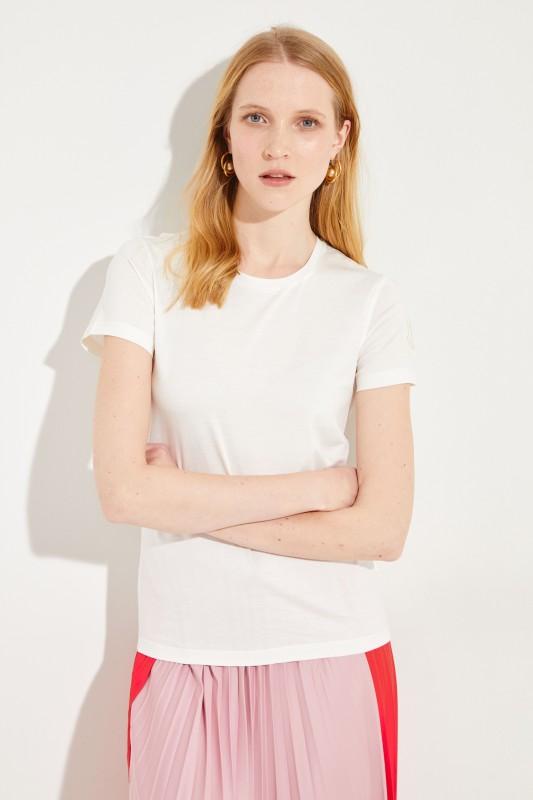 Baumwoll-Shirt mit Logo Crèmeweiß