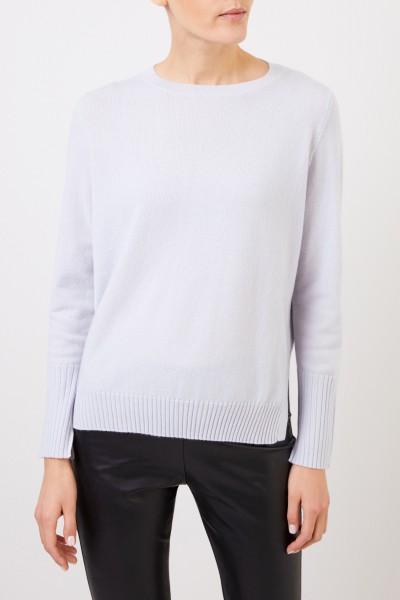 Allude Cashmere-Pullover mit Schlitzen Hellblau
