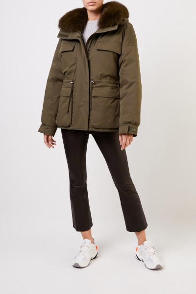 Army by Yves Salomon Down jacket with fur collar Khaki