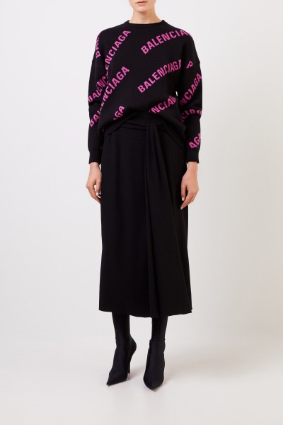 Balenciaga Oversize Pullover mit Logo Schwarz/Pink
