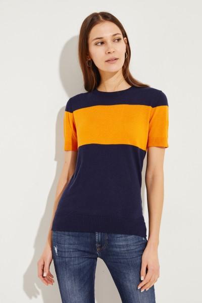 Stricktop mit Zipper-Detail Orange/Marineblau