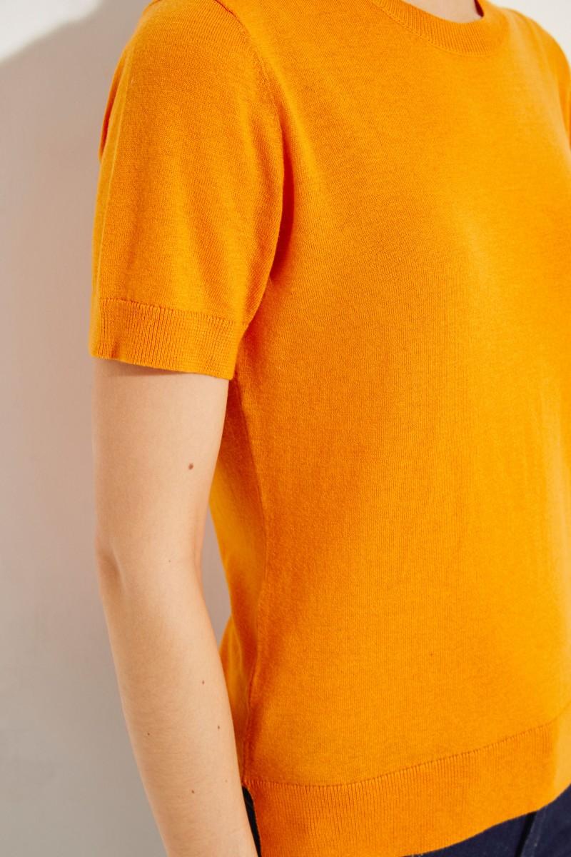 Stricktop mit Zipper-Detail Orange