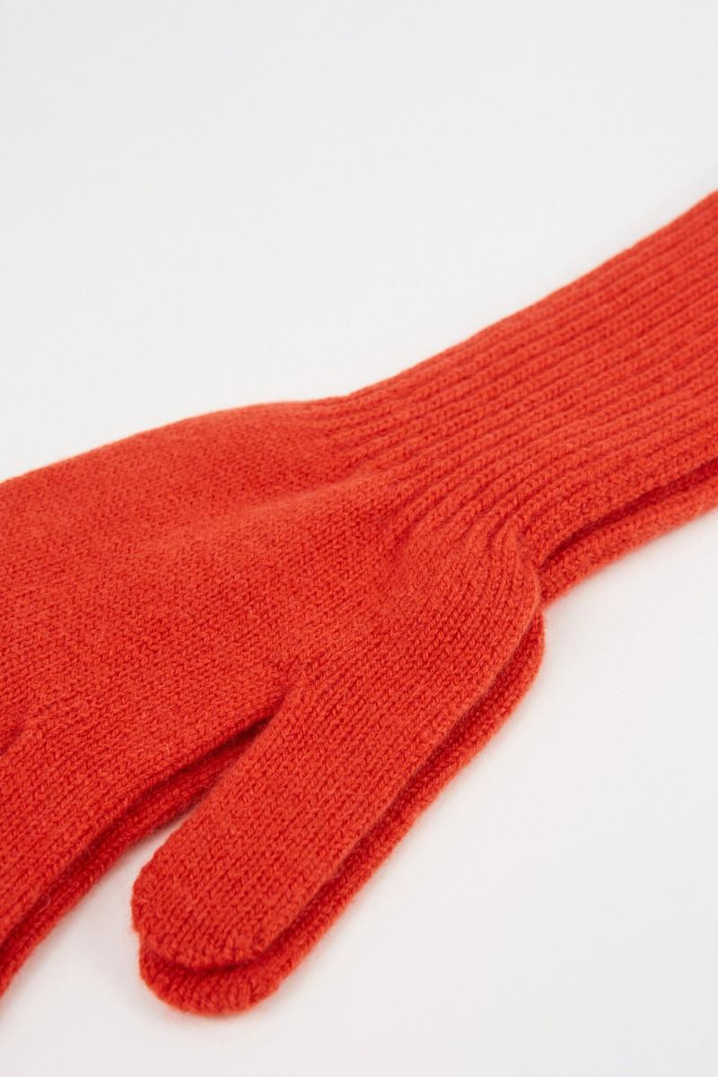 Uzwei Lange Woll-Cashmere-Handschuhe Orange