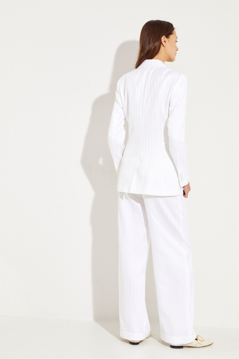 Cotton-Silk-Blazer 'George' with stripes White