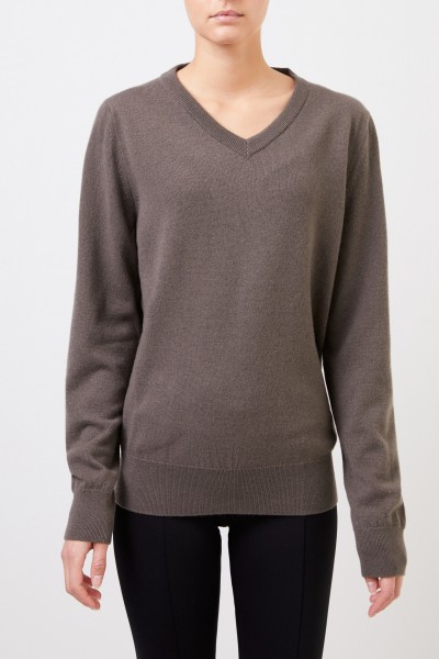 The Row Cashmere sweater 'Maley' with V-Neck Grey/Green