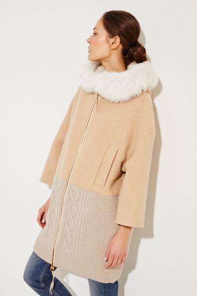 Woll-Cashmere-Mantel mit Fuchspelzbesatz Beige
