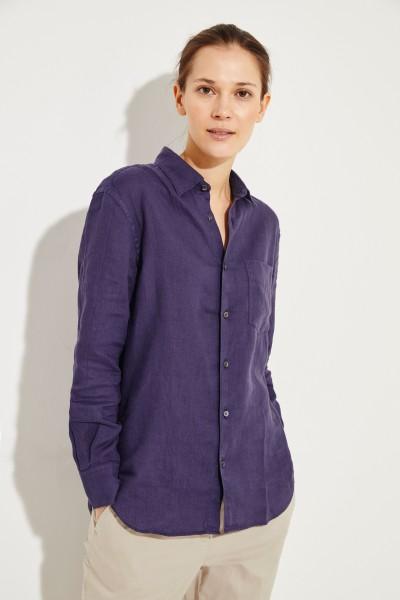 Leinen-Bluse Blau