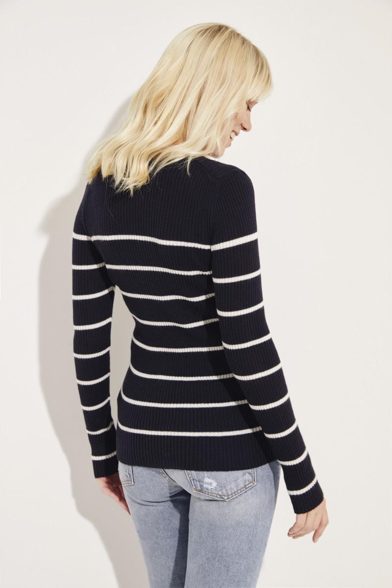 Rippstrick-Cashmere-Pullover 'Lindsey' Blau/Weiß