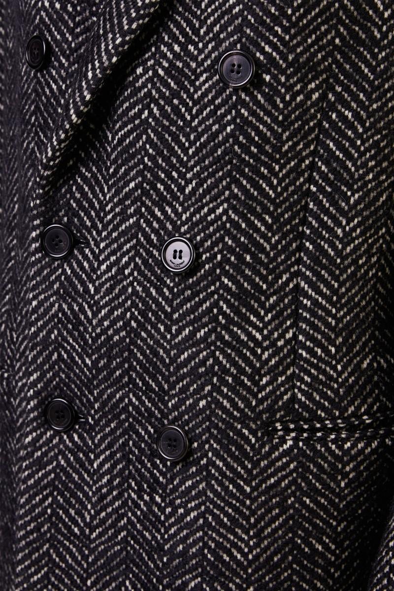 Saint Laurent Woll-Mantel mit Fischgrätmuster Schwarz/Weiß