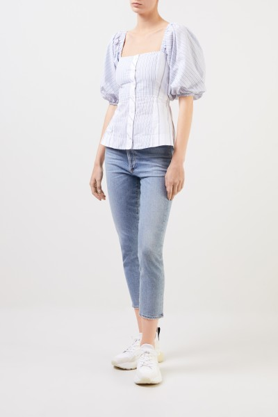 Ganni Off-Shoulder Bluse mit Streifen Blau/Weiß