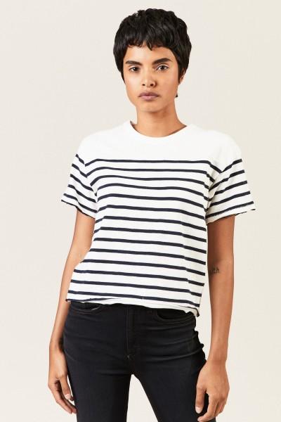 Gestreiftes Shirt 'Halsey' Weiß/Blau
